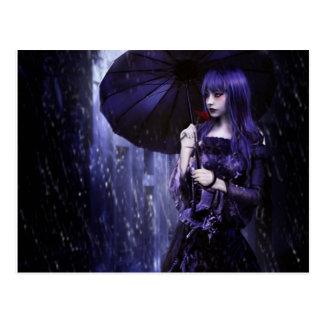 Beautiful Goth Girl in Rain Postcard