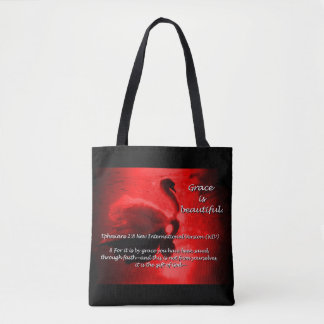 Beautiful Grace Swan Tote- red Tote Bag
