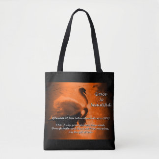 Beautiful Grace Swan Tote- rust Tote Bag