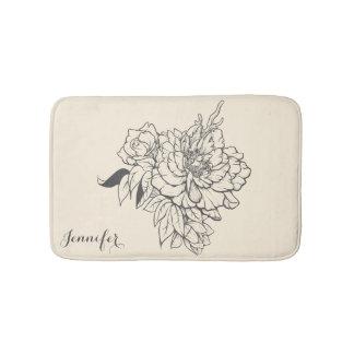 Beautiful Gray Floral Design Monogram Bath Mat