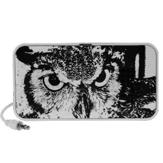 Beautiful Great Horned Owl Black & White Graphic iPod Speaker