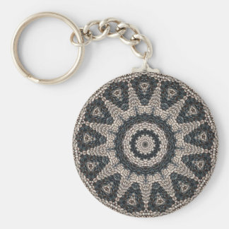 Beautiful Greek black and white pebble Mosaic Art Key Ring