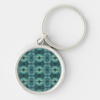 Beautiful Green and Blue Glass Mosaic Silver-Colored Round Key Ring