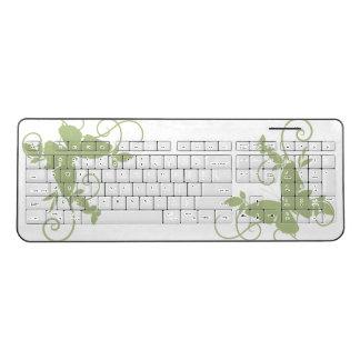 beautiful green butterfly swirl love art wireless keyboard