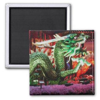 Beautiful Green Dragon Art Sculpture Square Magnet