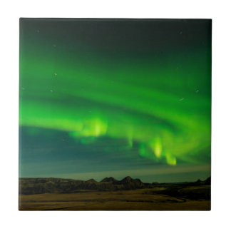Beautiful Green Iceland northern lights Tile