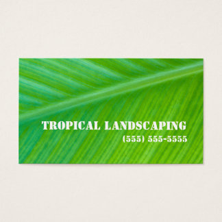 Beautiful Green Leaf Macro Landscaping Business Business Card