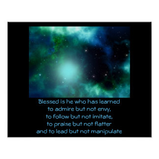 Beautiful Green Nebula with Quote Poster
