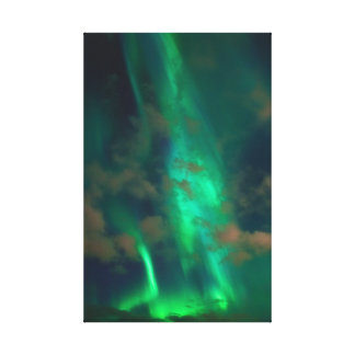 Beautiful Green Northern Lights with Clouds Canvas Print