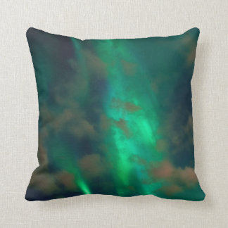 Beautiful Green Northern Lights with Clouds Cushion