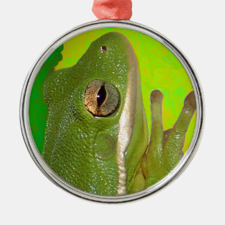 Beautiful green tree frog giviing the peace sign. metal ornament