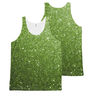 Beautiful Greenery Green glitter sparkles All-Over Print Singlet