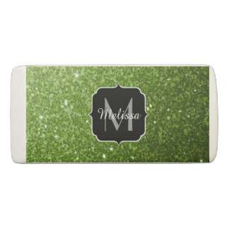 Beautiful Greenery Green glitter sparkles Monogram Eraser