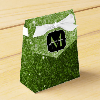Beautiful Greenery Green glitter sparkles Monogram Favour Box