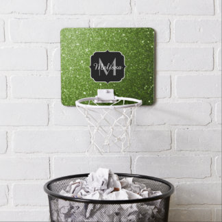 Beautiful Greenery Green glitter sparkles Monogram Mini Basketball Hoop