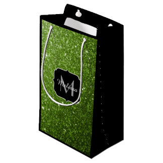 Beautiful Greenery Green glitter sparkles Monogram Small Gift Bag