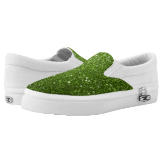 Beautiful Greenery Green glitter sparkles Slip-On Shoes