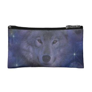 Beautiful Grey Wolf in the Moonlight Makeup Bag