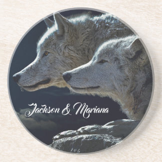 Beautiful Grey Wolves at Night Coaster