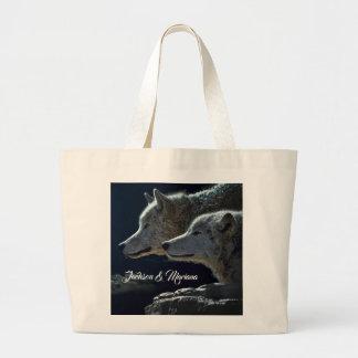 Beautiful Grey Wolves at Night Large Tote Bag