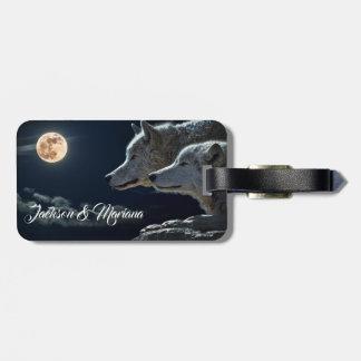 Beautiful Grey Wolves at Night Luggage Tag