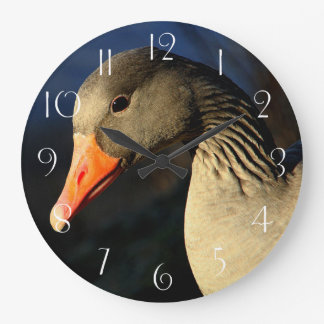 Beautiful greylag goose large clock