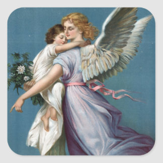 Beautiful Guardian Angel Painting Square Sticker