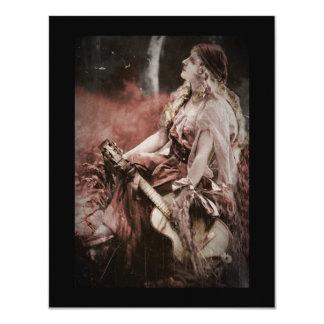 Beautiful Gypsy Woman with Guitar 11 Cm X 14 Cm Invitation Card