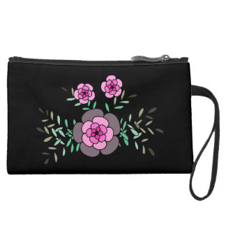 Beautiful hand drawn pink flowers wristlet clutch