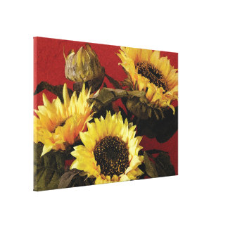 Beautiful, hand painted sunflower canvas print