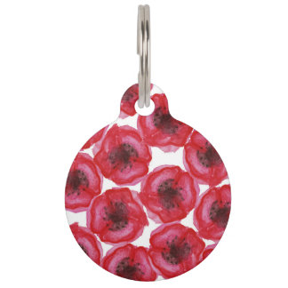 Beautiful Hand Painted Watercolor Poppy Flowers Pet Tag