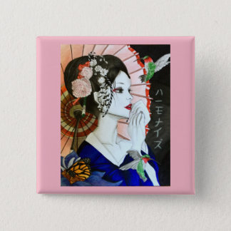 Beautiful Handrawn Japanese Woman With Butterfly 15 Cm Square Badge