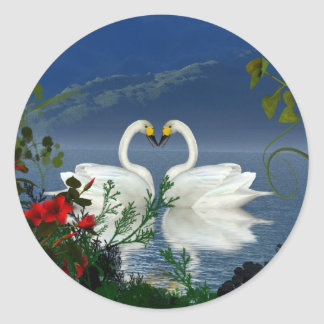 Beautiful heart swans red flowers 1 stickers