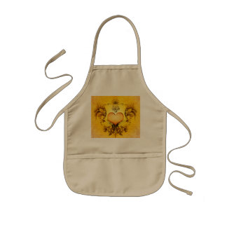 Beautiful heart with floral elements kids apron