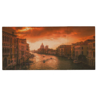 Beautiful historic venice canal, italy wood USB flash drive