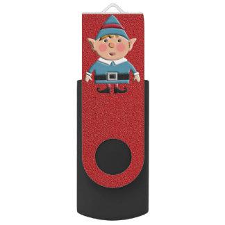 Beautiful Holiday Custom Christmas Elf Swivel USB 3.0 Flash Drive