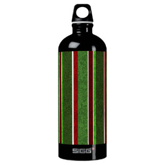 Beautiful Holiday Red and Green Stripe Pattern Water Bottle