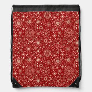 Beautiful Holiday Sparkle Snowflake Pattern Drawstring Bag