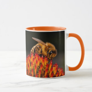 Beautiful Honeybee Pollinating a Coneflower Mug