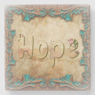 "Beautiful ""Hope"" Coaster With Copper Filigree"