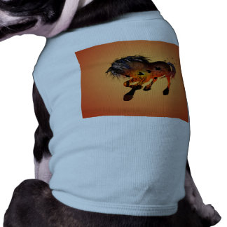 Beautiful horse in the sunset with birds sleeveless dog shirt
