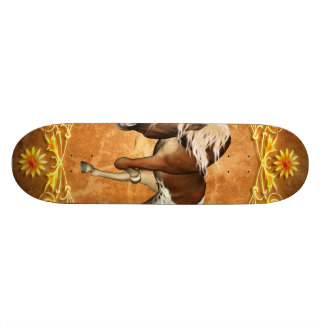 Beautiful  horse with decorative floral elements 21.6 cm old school skateboard deck