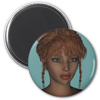 Beautiful Hot 3D Redhead Woman Model Digital Art Magnet