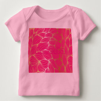 Beautiful,hot pink,faux gold,leaf,pattern,trendy,m baby T-Shirt