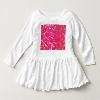 Beautiful,hot pink,faux gold,leaf,pattern,trendy,m dress