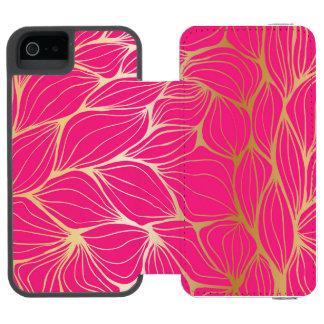 Beautiful,hot pink,faux gold,leaf,pattern,trendy,m incipio watson™ iPhone 5 wallet case