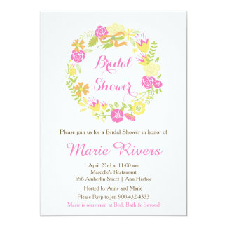 Beautiful Hot Pink Floral Wreath Bridal Shower Card