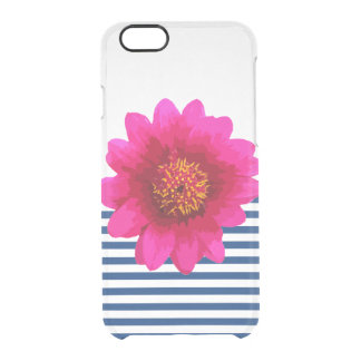 Beautiful Hot Pink Girly Flower Navy Blue Stripes Clear iPhone 6/6S Case