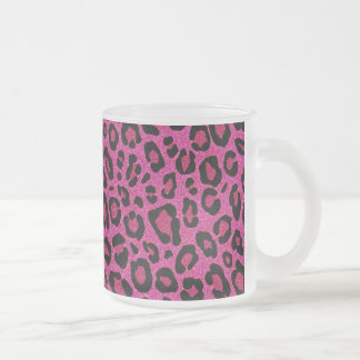 Beautiful hot pink leopard skin glitter shine frosted glass mug