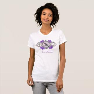 Beautiful Hummingbird Close up and Purple Flowers T-Shirt